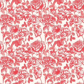 Toile de Jouy roses_red