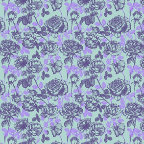 Toile de Jouy roses_violet_and_aqua