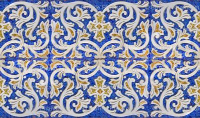 Byzantine mosaic  border - mirrored  - blue