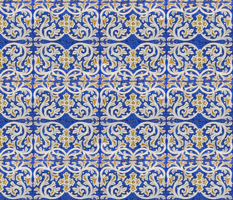 byzantine mosaic border - mirrored - blue fabric - bonnie_phantasm, Hause deko