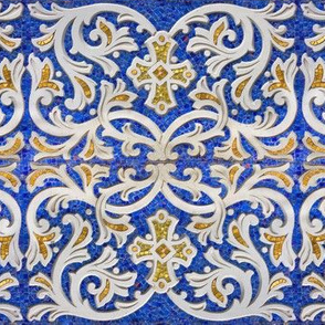Byzantine mosaic  border - mirrored  - blue