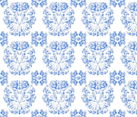 Cat Damask (Blue) fabric by vannina on Spoonflower - custom fabric
