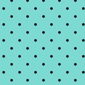 Little Dots Black on Aqua