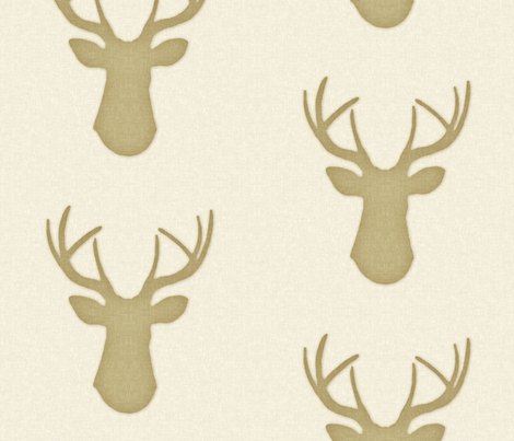Deer Silhouette in Linen fabric by willowlanetextiles on Spoonflower - custom fabric