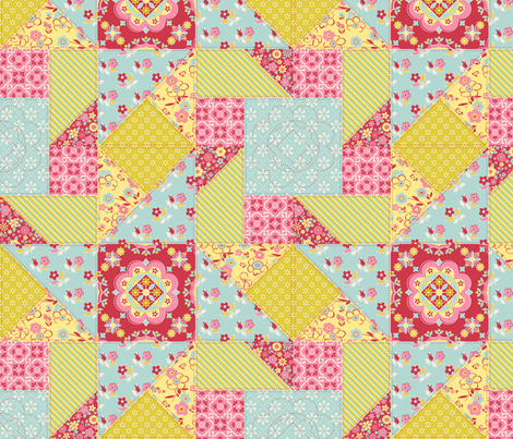 Tracy_Miller_Floral_Cheater_Quilt_Block fabric by tracymillerdesigns on Spoonflower - custom fabric