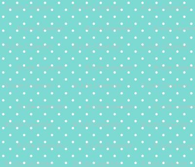 Little Dots WHITE on Aqua