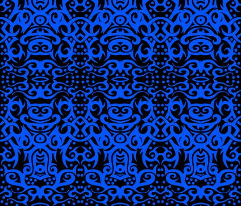 Tribal Damask Blue fabric by whimzwhirled on Spoonflower - custom fabric