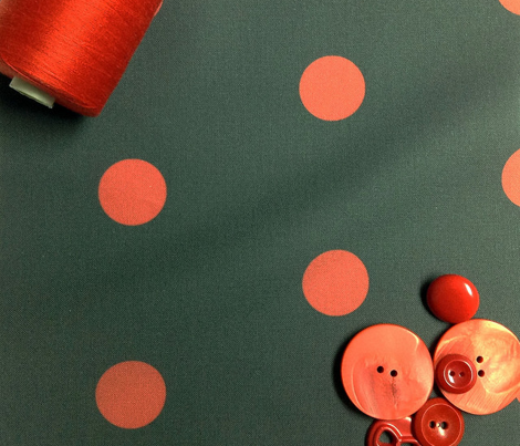 Polka Dot - Red on Black