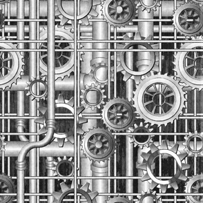 Steampunk pipes and gears grayscale 222ppi fabric 333ppi wallpaper 222ppi giftwrap