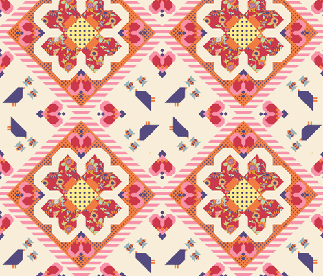 Birds & Bees   fabric by golders on Spoonflower - custom fabric