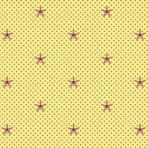 Stars & Pin Dots (Spring Floral Quilt Block Coordinate) -Blue-violet and Red on Butter-yellow