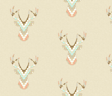 Chevron Deer Silhouette fabric by willowlanetextiles on Spoonflower - custom fabric