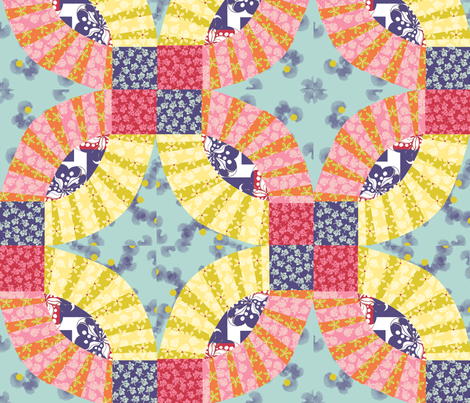 spring floral cheater block fabric by weejock on Spoonflower - custom fabric