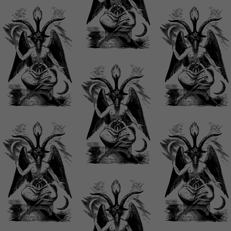 baphomet grey fabric by starlings_law on Spoonflower - custom fabric