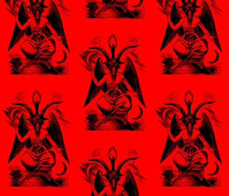 baphomet red fabric by starlings_law on Spoonflower - custom fabric