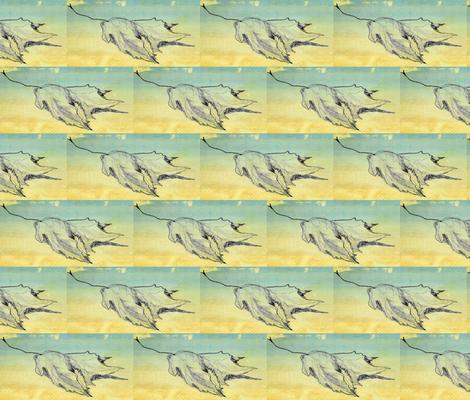 leaf sketch blue sky fabric by cathymcg on Spoonflower - custom fabric