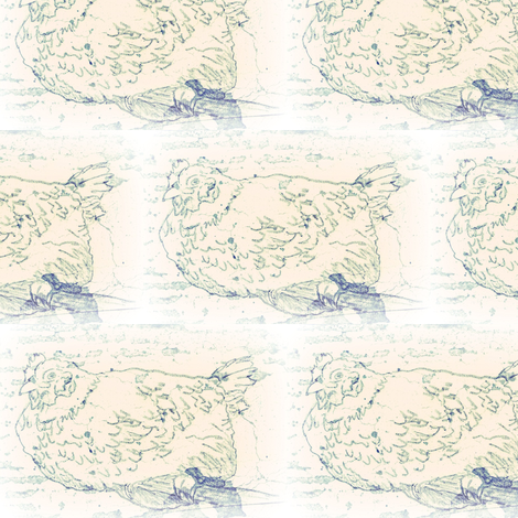 roost chick greenish fabric by cathymcg on Spoonflower - custom fabric