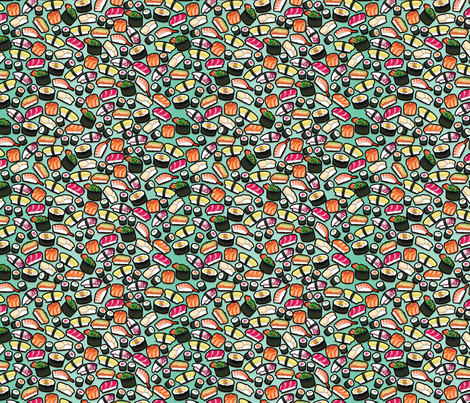 Aqua / Mint Sushi fabric by thickblackoutline on Spoonflower - custom fabric