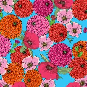 Happy Flowers on Turquoise