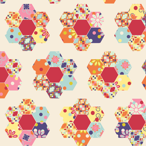 A Thoroughly Scrappy Grandma's Flower Garden fabric by bargello_stripes on Spoonflower - custom fabric