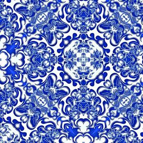 Claw Of Foo Dog  blue/white