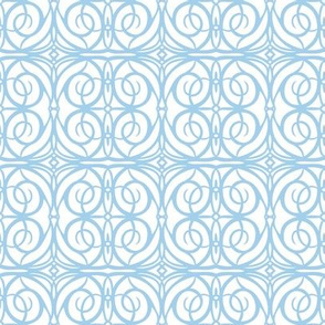 Ironwork gate -- in pale blue on white