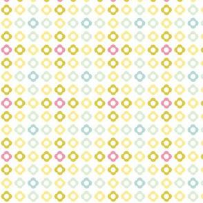 Flower dots grid - spring palette pink blue green