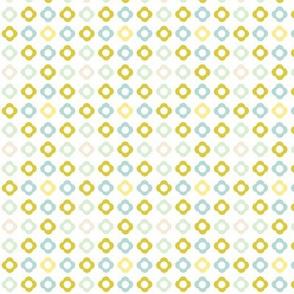 Flower dots grid - spring palette beige green blue