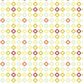 Flower dots grid - spring palette orange green yellow