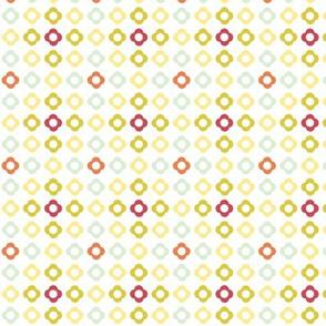 Flower dots grid - spring palette orange green yellow