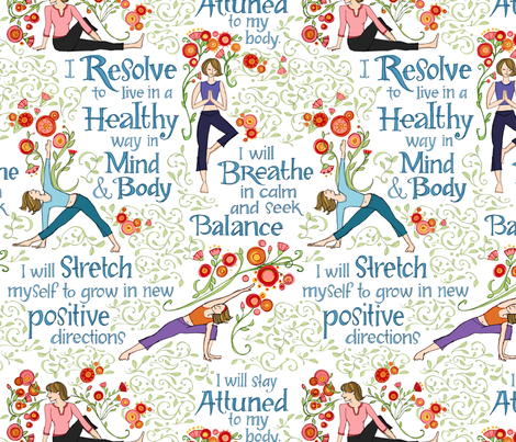 Resolutions for Health with Yoga fabric by robinpickens on Spoonflower - custom fabric
