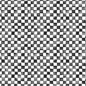 "watercolor checkerboard 1/4"" squares - black and white"
