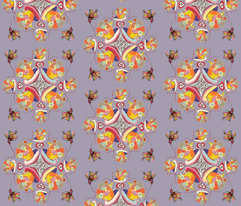 Teacup Flowers with hummingbirds fabric by amy_g on Spoonflower - custom fabric