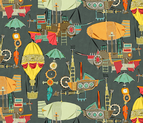 steampunk sky dark fabric by scrummy on Spoonflower - custom fabric