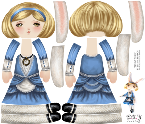 Cut and Sew Doll Alice in Wonderland Bunny fabric by selinafenech on Spoonflower - custom fabric