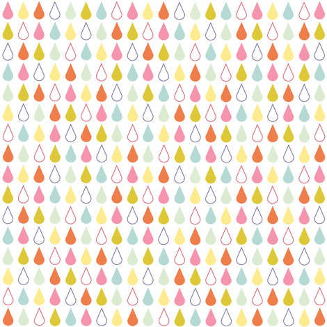 Rain drops - spring palette multi fabric by little_fish on Spoonflower - custom fabric