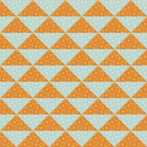 flying geese - orange & blue