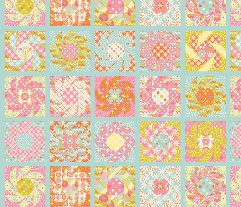 Spring_Floral_Cheater_Quilt_Block_bleu_M fabric by nadja_petremand on Spoonflower - custom fabric