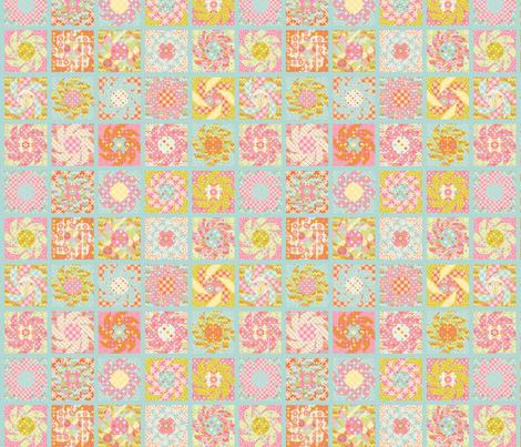 Spring Floral Cheater Quilt Block Bleu S Fabric Nadja