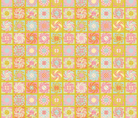 Spring_Floral_Cheater_Quilt_Block_vert_S fabric by nadja_petremand on Spoonflower - custom fabric