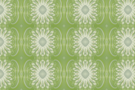 Feathery Flower - Gilded Green fabric by yewtree on Spoonflower - custom fabric