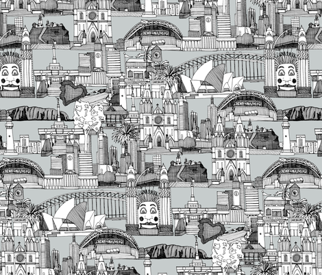 AUSTRALIA TOILE DE JOUY Black White Fabric By Scrummy On Spoonflower    Custom Fabric Part 84