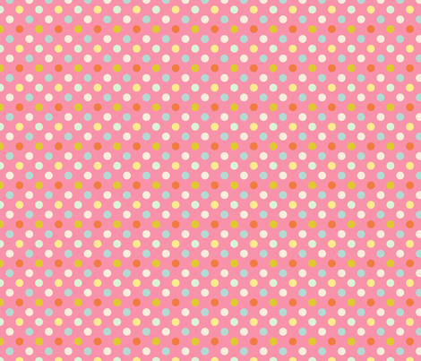 pois_moyen_multi_fond_rose_S fabric by nadja_petremand on Spoonflower - custom fabric