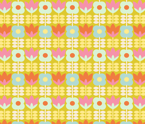 floral_spring_fond_vert_S fabric by nadja_petremand on Spoonflower - custom fabric