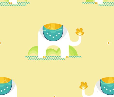 Elephants Green fabric by tanobes on Spoonflower - custom fabric