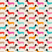 Vintage doxie dogs dachshund illustration pattern