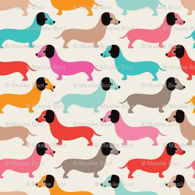 Vintage doxie sausage dogs dachshund illustration pattern girls