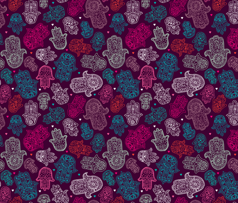 Hamsa Colorful Oriental Hand Of Fatima Fabric By Littlesmilemakers On Spoonflower