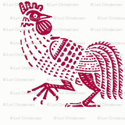 rooster strut red