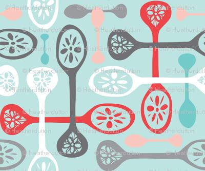 Fleur de Cuillère - Retro Kitchen Spoons Aqua Blue